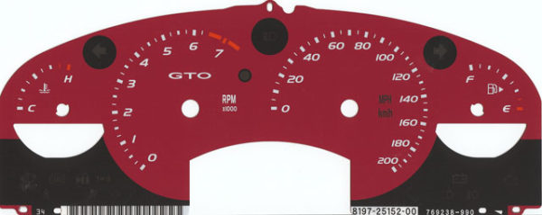 2005 or 2006 GTO Cluster Face
